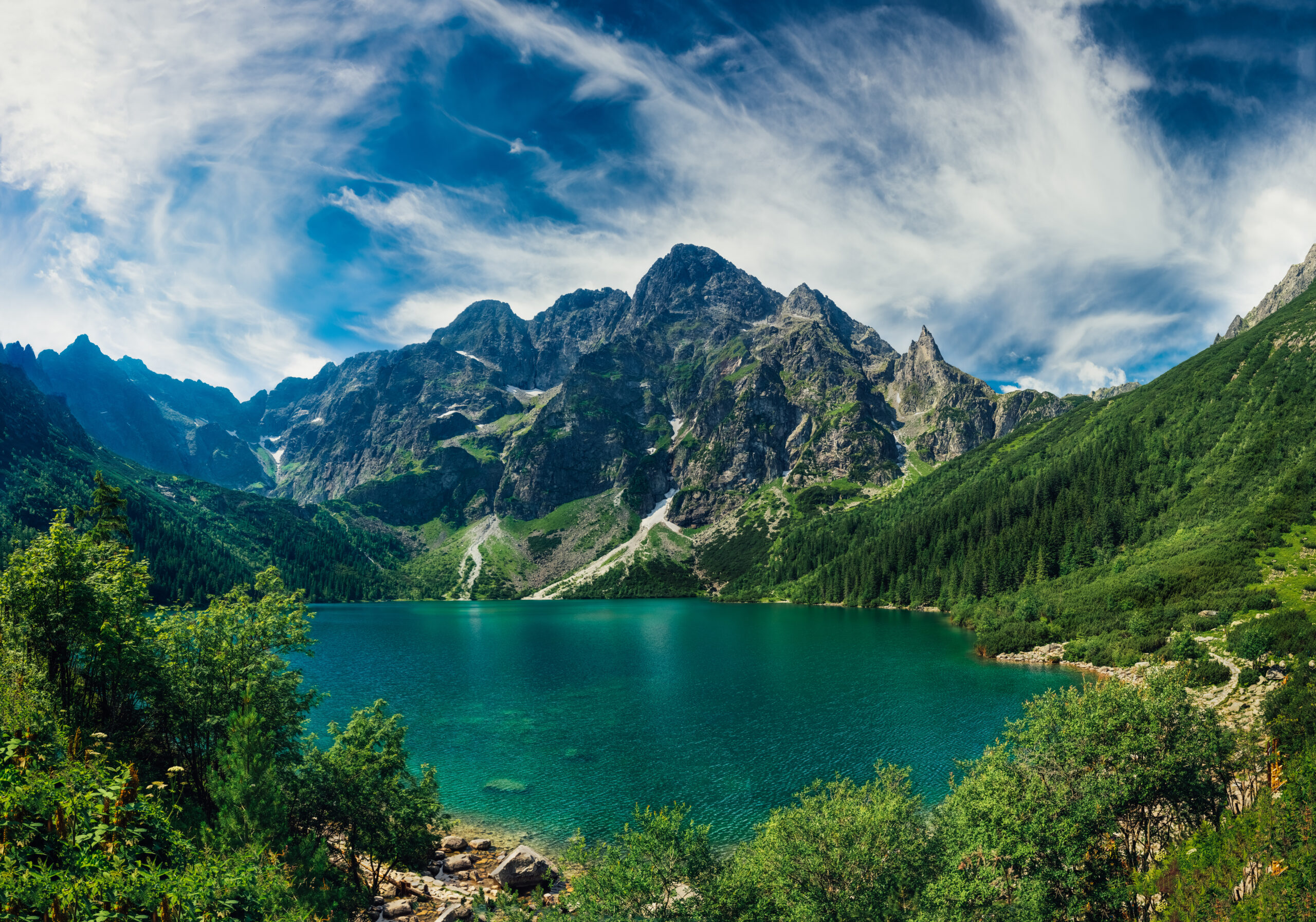 View,On,The,Turquoise,Color,Lake,Between,High,And,Rocky